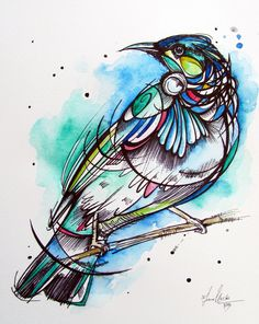 This one follows on from the 'Pink Robin', it is a series where I am further exploring the use of ink. I have made the line work quite bold and have tried to keep the colours quite simple. The angle that Tui bird is sitting is unusual and made the process more challenging.