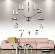 Large Wall Clock 3D Mirror Surface Sticker Home Office Decor Black & W – marketplacefinds