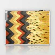 SHINE ON - Gold Glam Chevron Colorful Abstract Acrylic Pattern Painting Modern Home Decor Fine Art Laptop & iPad Skin by EbiEmporium - $25.00
