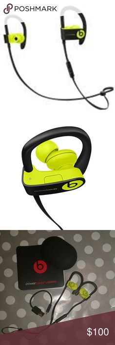 PowerBeats3 Wireless Earphones *Brand new. Never used (only tested) PowerBeats3 in Shock Yellow  *From website: Take your workout to another level with the Powerbeats3 wireless earphones, featuring a long battery life to last through multiple workouts and secure-fit ear hooks to maximize comfort and stability. Sweat and water resistance provides trusted durability and dual-driver acoustics deliver dynamic sound to power your workout.  *Comes with case. Charge cord. user's guide and extra ear…