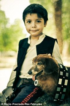 Rocio Preciado's 4-year-old nephew plays Han Solo with Chewbacca the dachshund...
