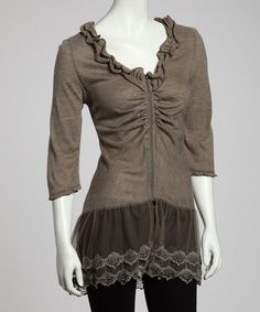 Khaki Gathered Lace Tunic by Premise Paris on #zulily