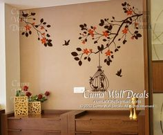 tree wall decals flower vinyl wall decals wall mural birds wall sticker nursery wall decals- branch with cherry blossom, birds S I Z E * small Tree Wall Painting, Simple Wall Paintings, Tree Wall Murals, Tree Wall Art, Bird Wall Decals, Nursery Wall Stickers, Wall Stickers Home Decor, Vinyl Wall Decals, Tree Decal Nursery