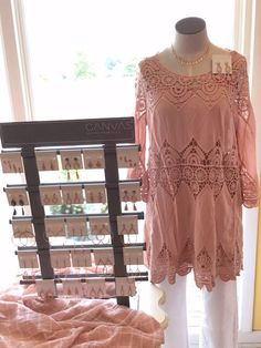 We have the prettiest rose gold accessories and tops at Shoppe five! Here is the new Canvas rose gold jewelry and new crocheted top.