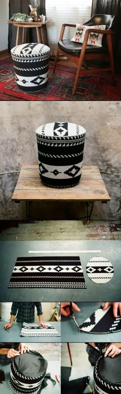 DIY ottoman in fun funky pattern. Totally making one of these