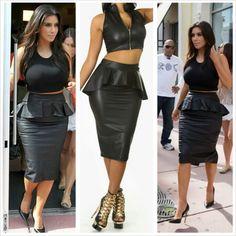 Get this skirt on @Wheretoget or see more #skirt #fashion #leather_peplum_skirt #kim_kardashian #black_leather_skirt #leather_skirt #peplum_skirt