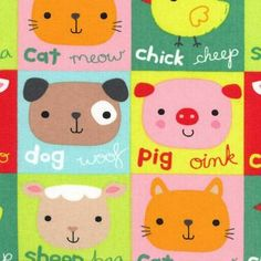 Nursery Fabric- Animal Patch