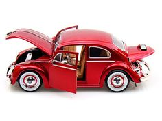 Jada Toys Big Time Kustoms 1/24 Scale 1959 VW Volkswagen Beetle Bug With Baby Moon Rims Red Diecast Car Model 92358