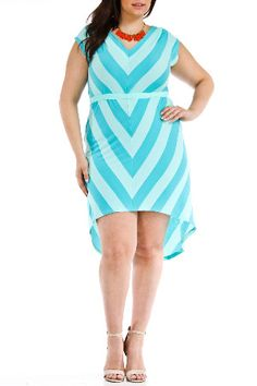 Christine V Chevron High-Low Dress in Turquoise & Green