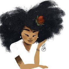 By Afro hair art. Natural Hair Art, Pelo Natural, Natural Hair Styles, Black Girl Art, Black Women Art, Art Girl, Black Girls, African American Art, African Art