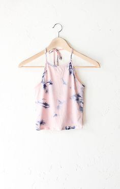 Tie Dyed Halter Crop Top - Pink from NYCT