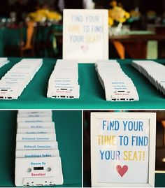 love this idea!!! cassette tape escort cards and the artist on your escort card leads to your table (instead of table numbers there is a picture of the artist).  Yes, please!