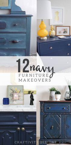 12 Navy Painted Furniture Makeovers, #funkyfurniture