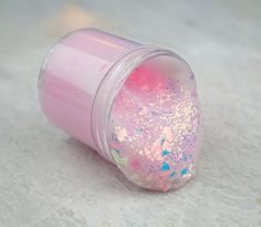 Rose Quartz is a beautiful, thick jelly slime topped with iridescent small & chunky glitter LIGHT ROSE SCENT - If you have a problem with your order, PLEASE