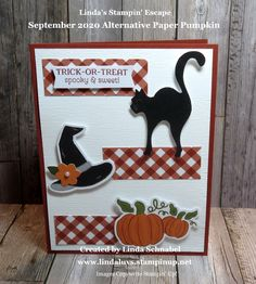 Halloween Cards, Halloween Pumpkins, Fall Halloween, Stampin Up Paper Pumpkin, Pumpkin Cards, Stamping Up, Cute Cards, Trick Or Treat, Cardmaking