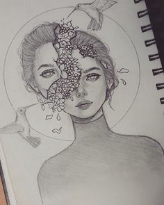 black and white sketch of a girl, head split, flower coming out of the head, face drawing Girl Face Drawing, Drawing Girls, Drawing Faces, Stuff To Draw, Things To Draw, Estilo Anime, Pretty Art, Cute Art, Cute Drawings