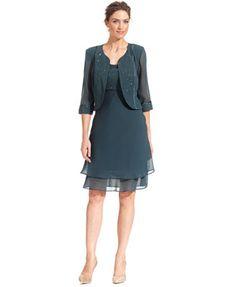 Le Bos Sleeveless Glitter Dress and Jacket