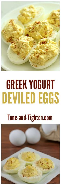 A healthier take on an Easter-time favorite! Greek Yogurt Deviled Eggs on Tone-and-Tighten.com
