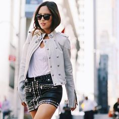 """Pin for Later: 45 """"Going Out"""" Outfits That Are Simple, Sexy, and Stylish Your Favorite Leather Staples Separated With a Casual White Tee"""