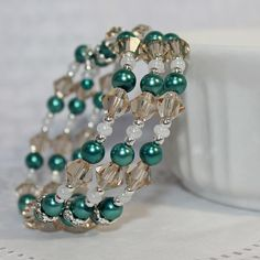 Memory Wire Beaded Bracelet Wrist Wrap Glass Beads and Glass Pearls Aqua and Champagne Womens Jewelry