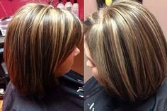 Brown, black and blonde. 3 colors  chunky foils. Highlight lowlight. Dimensional color. Layered bob haircut. #kkhhair