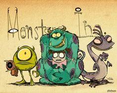 Monstros S.A estilo Tim Burton Disney Drawings, Cute Drawings, Tim Burton Art Style, Tim Burton Personajes, Tim Burton Drawings, Tim Burton Artwork, Desenhos Tim Burton, Evvi Art, Art Disney