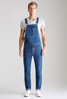 Nothing wrong with overalls--except when a guy poses self-consciously for the camera in a pair #Men #Guy #Overalls