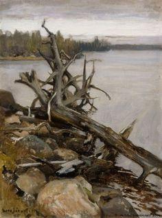 """""""Dead Pine in the Water"""" - Eero Järnefelt (Finnish, 1863 - 1937)"""