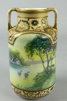 Antique Hand Painted Nippon Vase Double Handled Swan Bird Lake Oriental RARE Time Goes Back, Crystal Glassware, Noritake, China Porcelain, Art Nouveau, Oriental, Antique Vases, Pottery, Hand Painted