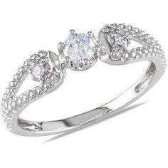 Miabella 1/5 Carat T.W. Diamond 14kt White Gold Engagement Ring