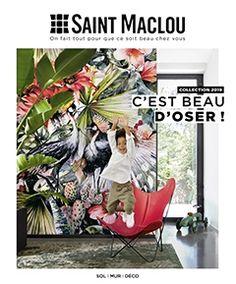 Papier peint DOMITILLE 100% intissé motif tropical, jaune moutarde - Saint Maclou Terrazzo, Actifry, Rose Trees, Motif Floral, Catalog, Rugs, World, Experience, Pose Parquet
