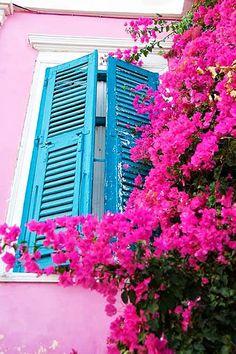 Syros Island in Pink, Cyclades, Greece