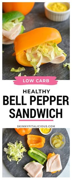 Swap the sandwich bread for sliced bell pepper! Swap the sandwich bread for sliced bell pepper! Clean Eating Recipes, Lunch Recipes, Appetizer Recipes, Whole Food Recipes, Great Recipes, Sandwich Recipes, Dinner Recipes, Healthy Low Calorie Meals, Low Calorie Recipes