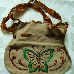 Linen bag with embroidered butterfly. Arts & Crafts style.