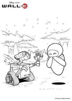 WALL-E and EVE coloring page