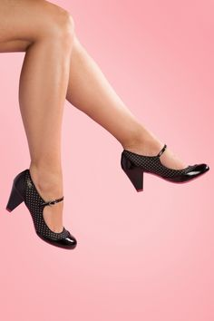 Ruby Shoo - 50s Megan Polkadot Ankle Strap Pumps in Black