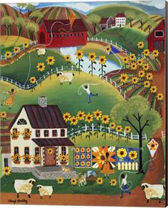 Shop for Cheryl Bartley 'Primitive Quilt Maker House Sunflower Sheep ' Canvas Art - Multi-color. Get free delivery On EVERYTHING* Overstock - Your Online Art Gallery Store! Get in rewards with Club O! Artist Canvas, Canvas Artwork, Canvas Art Prints, Framed Artwork, Painting Prints, Wall Art, Tole Painting, Art Paintings, Wall Decor