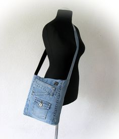 Recycled denim crossbody bag light blue jeans messenger bag