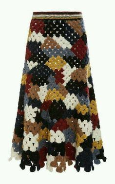 Chunky Alpaca Patchwork Crochet Skirt by ROSETTA GETTY for Preorder on Moda Operandi See other ideas and pictures from the category menu…. Crochet Bodycon Dresses, Crochet Skirts, Crochet Yarn, Crochet Clothes, Crochet Stitches, Chunky Crochet, Vintage Crochet Dresses, Patchwork Patterns, Crochet Patterns