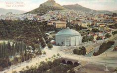 Πανόραμα Θων (που χτίστηκε το 1895 και κατεδαφίστηκε το 1921) στα αριστερά του Αθήνα, 1906