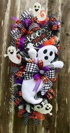 Wreaths, Arrangements and More for Every Occasion by HolidayBaublesWreath Halloween Trees, Halloween Skeletons, Halloween Pumpkins, Halloween Crafts, Halloween Decorations, Halloween Stuff, Christmas Decorations, Nightmare Before Christmas Tattoo, Adornos Halloween