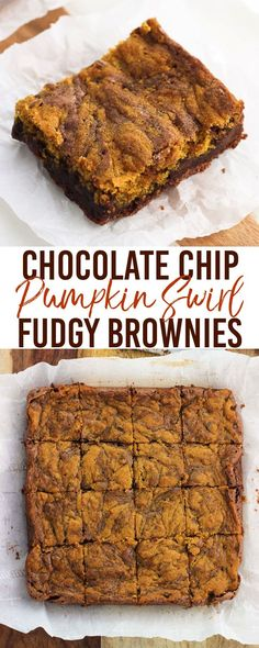 Fudgy chocolate chip pumpkin swirl brownies combine the best of both worlds in one dessert. Fudgy brownie batter is swirled with a perfectly spiced pumpkin mixture in this great fall dessert. A delicious way to use up a little bit of leftover pumpkin pure Pumpkin Puree Recipes, Spiced Pumpkin, Pumpkin Spice, Best Dessert Recipes, Fall Recipes, Sweets Recipes, Holiday Recipes, Brownie Recipes, Chocolate Recipes