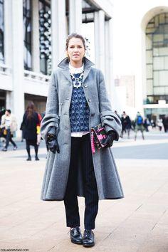 New_York_Fashion_Week-Street_Style-Fall_Winter-2015-Helena_Bordon-Pinstripe-GRey_Coat.