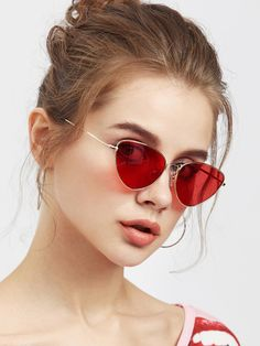647acbf60ee Oval Shaped Flat Lens Sunglasses -SheIn(Sheinside) Red Sunglasses