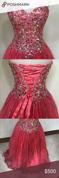 Prom Dress or Gown Beautiful princess gown! If you live in Austin, I can arrange for you to try it on. I had cups sewn in, but they can be easily removed if needed. Also comes with a small piece of fabric (not pictured) that snaps on the back behind the corset ties if you'd rather cover the open back. Jovani Dresses Prom