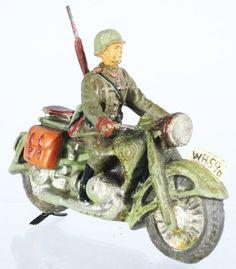 Elastolin German Army Solo Motorcycle.