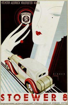 STOEWER Automobile 8 Zylinder 1928  Stettin   Germany  Advertise by Joseph BINDER