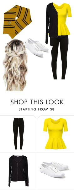 """""""Hufflepuff casual"""" by katiepttrsn ❤ liked on Polyvore featuring Velvet by Graham & Spencer and Lacoste"""