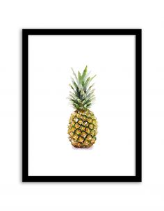 Free Printable Pineapple Watercolor Art from @chicfetti - easy wall art diy