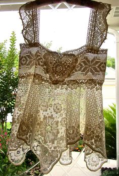 Victorian Style Lace Camisole Vintage Crochet Lace Tank Top Cover Shabby Chic Cottage French. via Etsy.